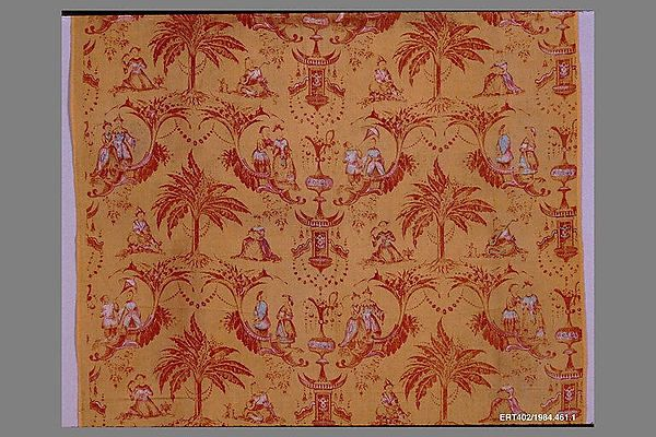 Length Date: ca. 1850s Culture: French (Mulhouse) Medium: Cotton Dimensions: L. 75 1/2 x W. 29 inches 191.8 x 73.7 cm (selvage to selvage) Classification: Textiles-Printed Credit Line: Gift of Cora Ginsburg, 1984 Accession Number: 1984.461.1