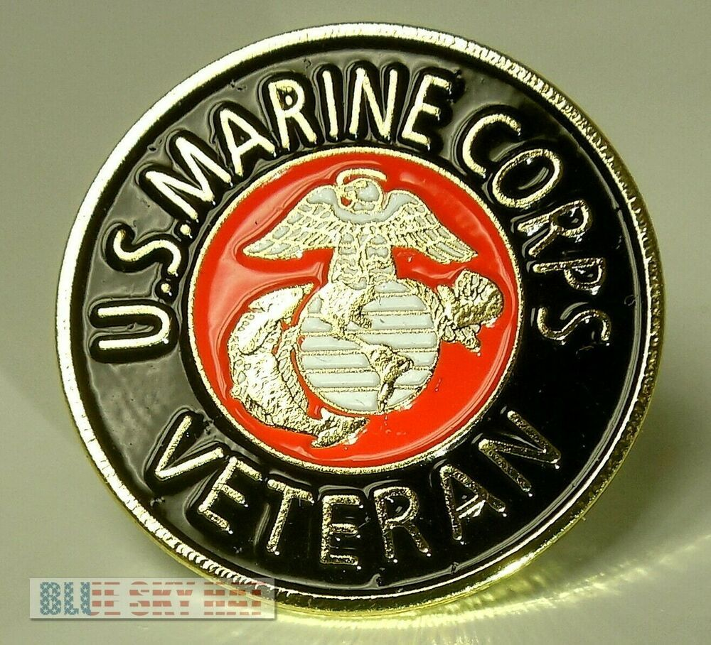 Veteran w Eagle Globe Anchor on Black USMC Marine Corps Lapel Pin U.S.M.C