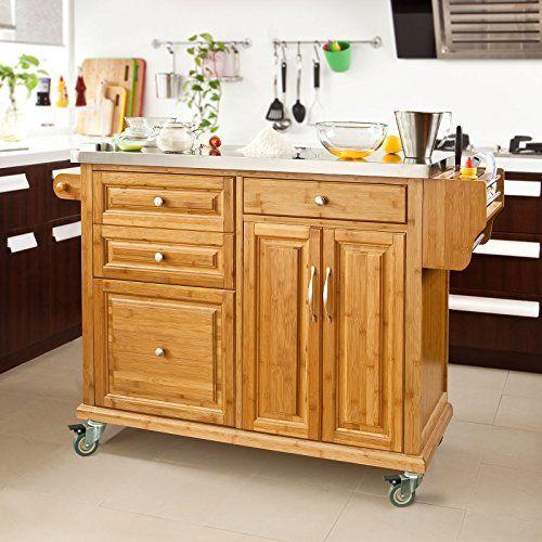 SoBuy® Luxus-Küchenwagen aus hochwertigem Bambus mit - küchenwagen mit mülleimer