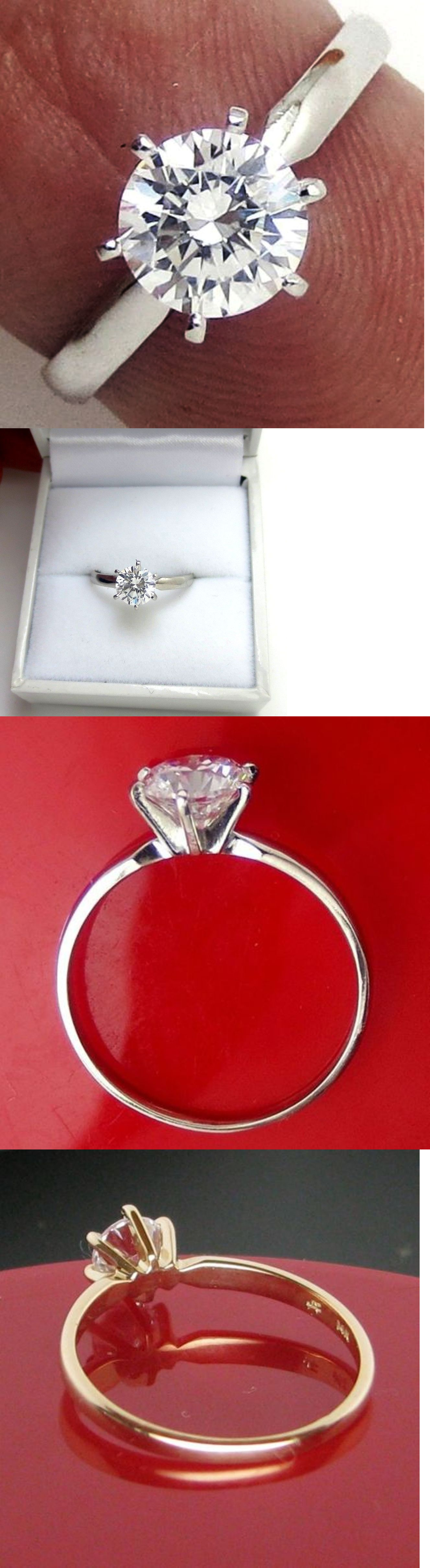 Diamond 67726: 0.51 Ct Round Brilliant Cut Solitaire Engagement Ring Real 14K Solid White Gold BUY IT NOW ONLY: $99.99