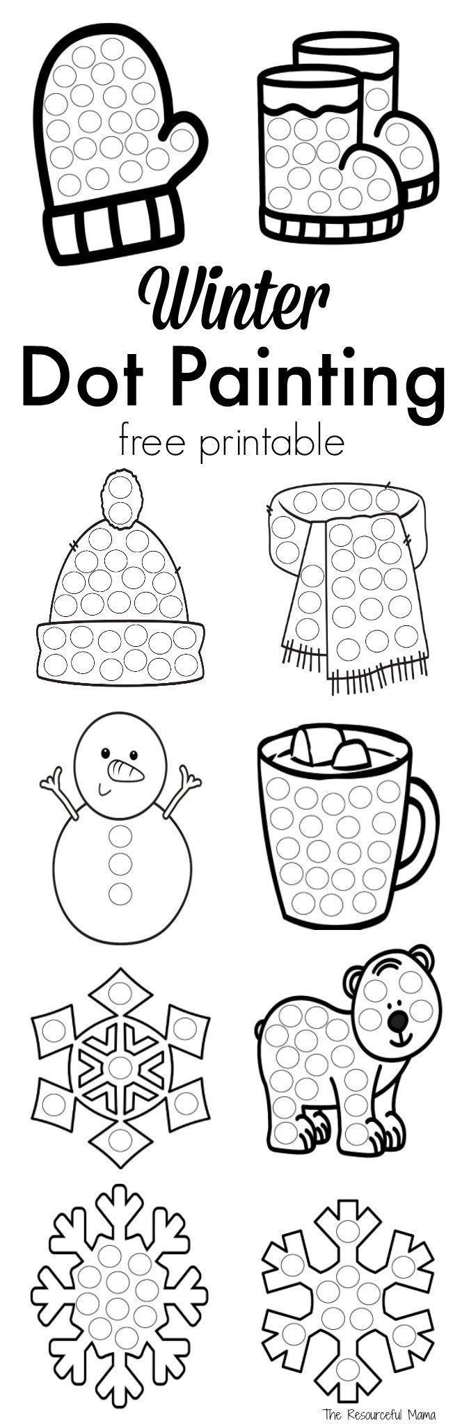 these winter dot painting printables are a great low mess no prep activity for kids this - Painting Worksheets For Kindergarten