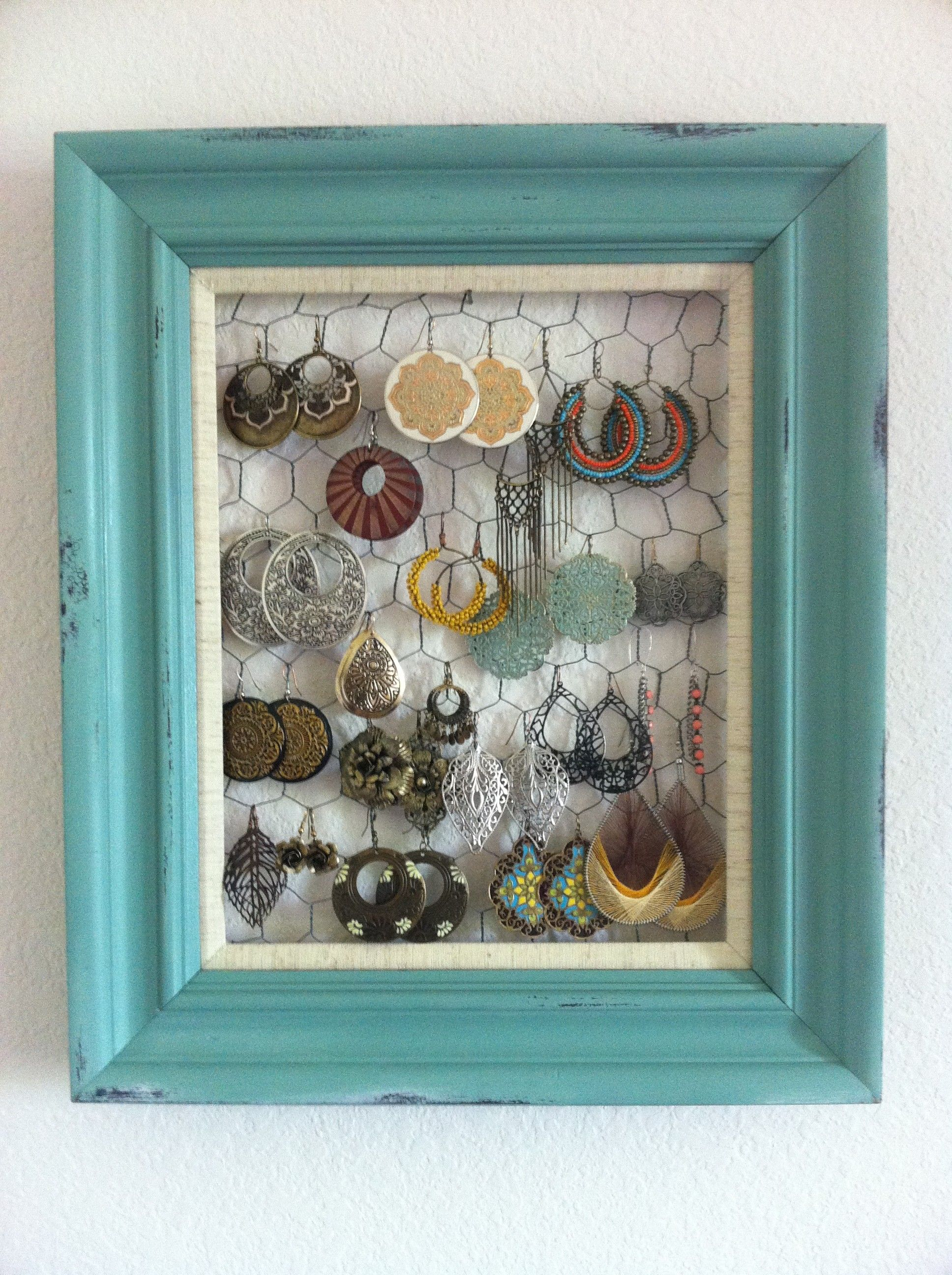 Frame + chicken wire (hang jewelry or use for hanging photos/cards ...