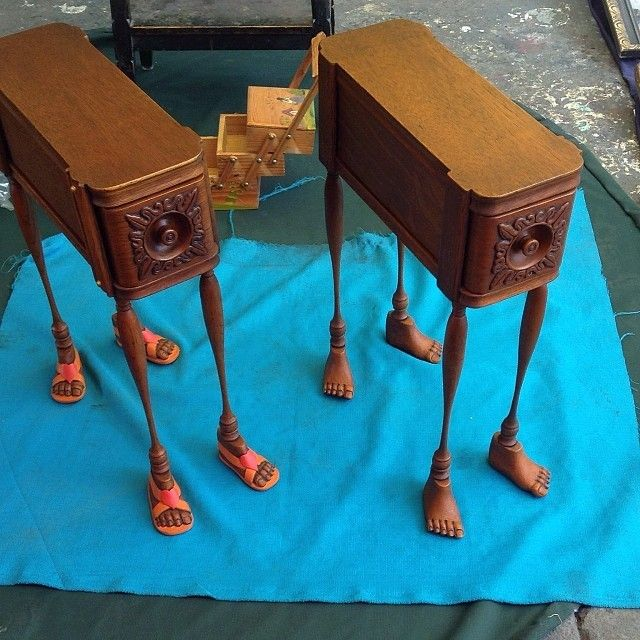 Antique Tables With Little Wooden Feet... At La Lagunilla Antiques Market,  Mexico