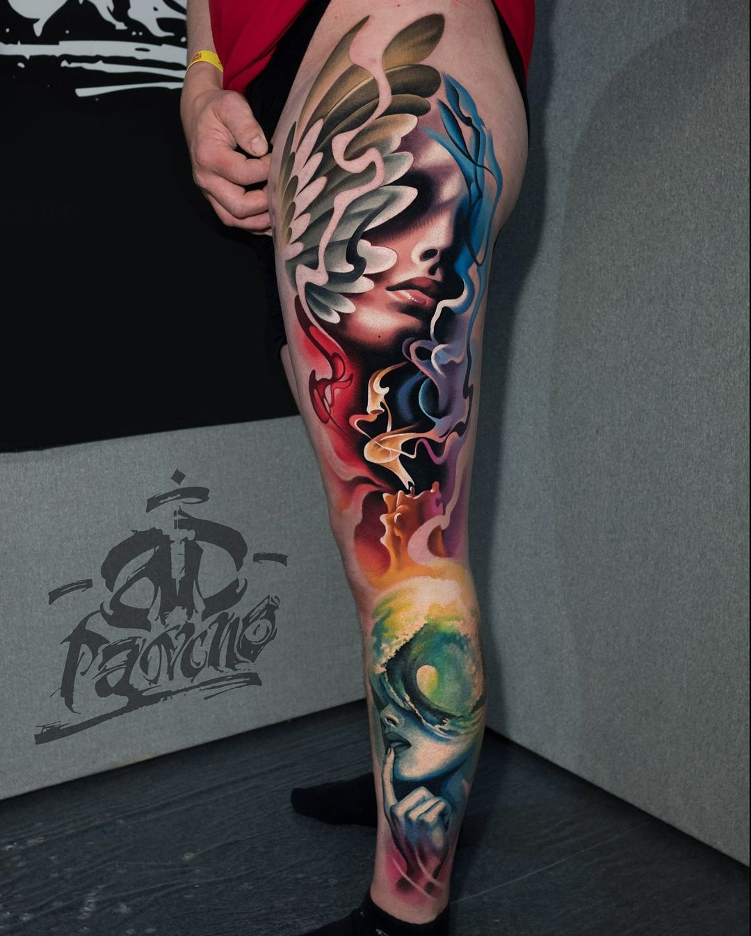 Realistic tattoo by A.D. Pancho Leg sleeve tattoo
