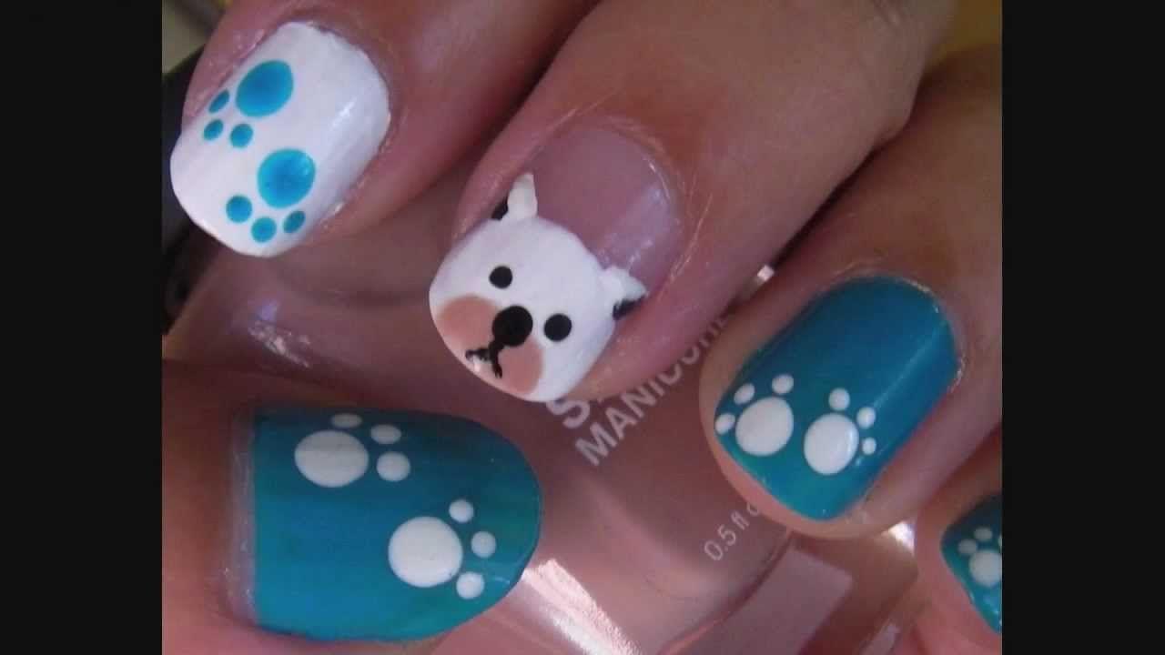 Dog Puppy Nail Art Design Youtube Hearts Pinterest Short