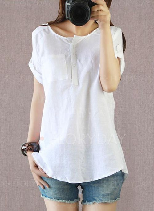 f0e10eb4b0058 Solid Casual Polyester Round Neckline Short Sleeve Blouses (1043272)    floryday.com