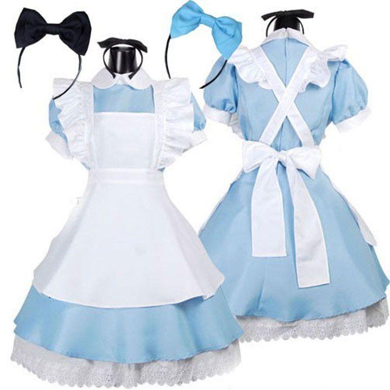 ホット販売アリスでワンダーランド衣装ロリータdressメイドコスプレファンタジアカーニバルハロウィン衣装のための女性