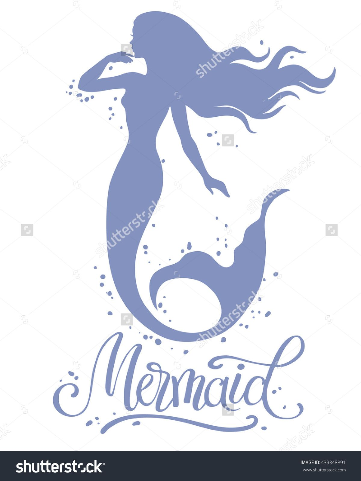 Hand painted mermaid watercolor vector silhouette stock vector - Mermaid Hand Drawn Vector Silhouette Illustration Buy This Stock Vector On Shutterstock Find Other Images