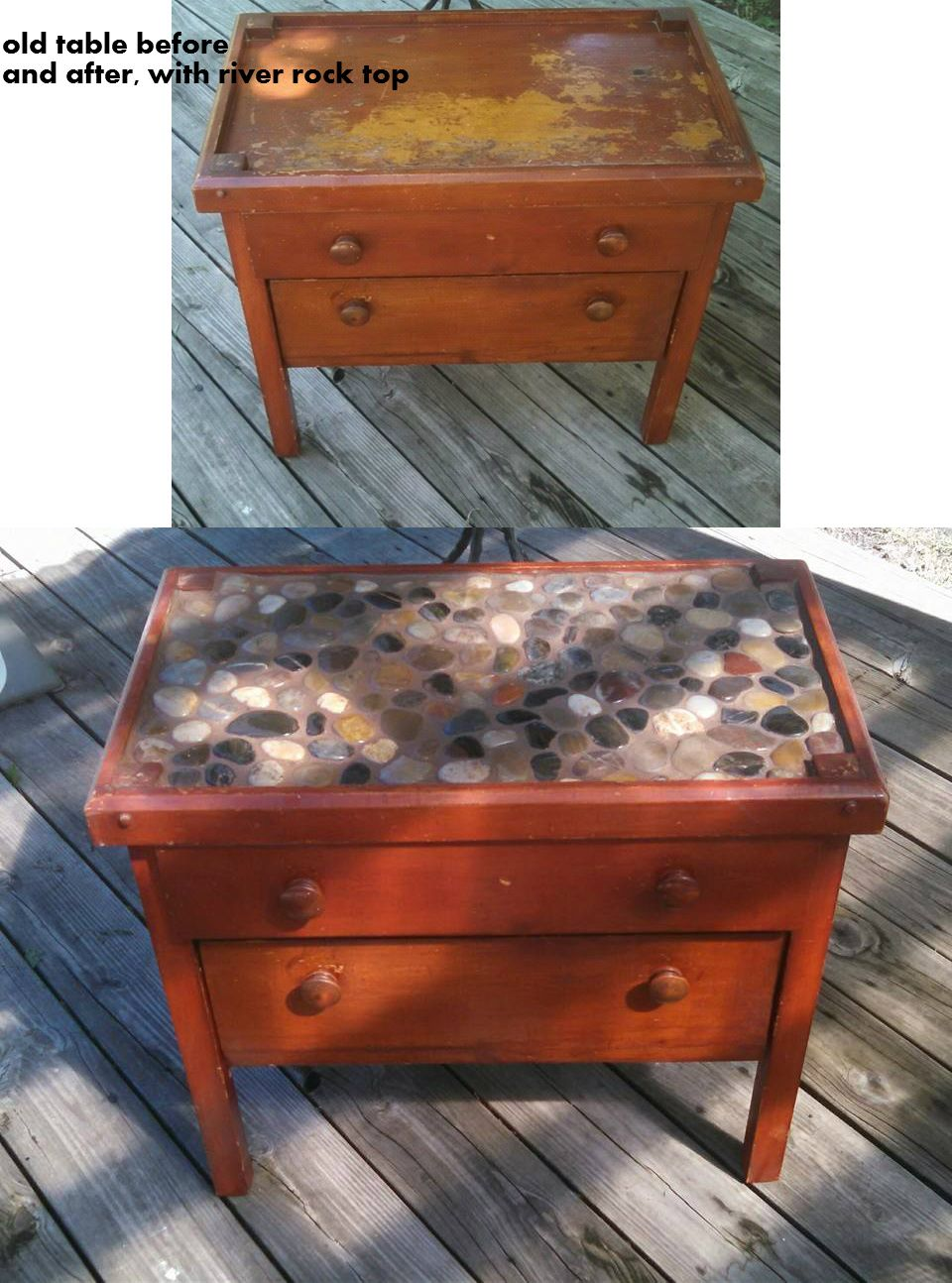 Snagged a cool vintage table with a top drawer, bottom pull down ...