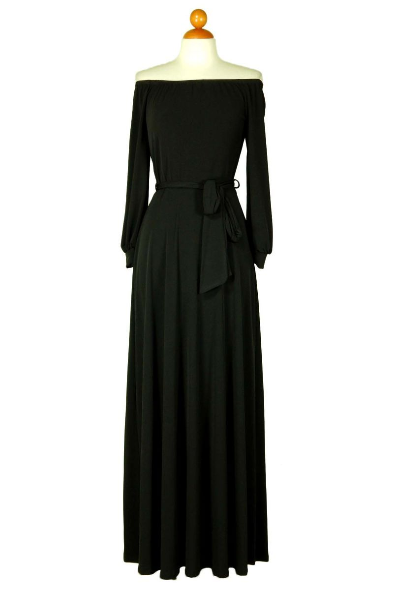 Black off the shoulder with long cuff sleeve maxi dress in