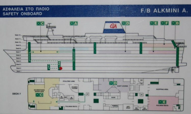 Russian ferry plan clearly displays the deck plan as well as - safety plans