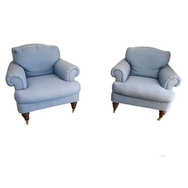 Image Of Lillian August Blue Club Chairs   A Pair