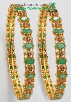Buy 1 Pair of Emeralds Uncut Diamond Bangles in 22K Gold DBL129