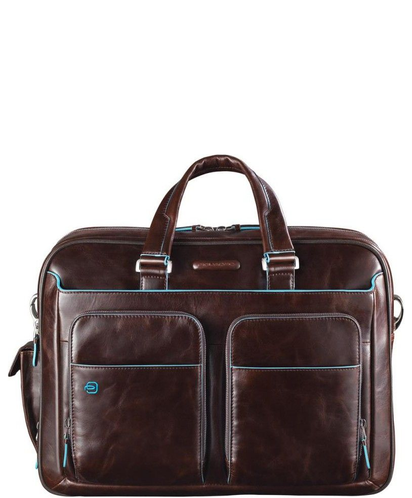 Business Piquadro Blue Square CA2765B2 Expandable Laptop Case Brown ... 0f03613f6f