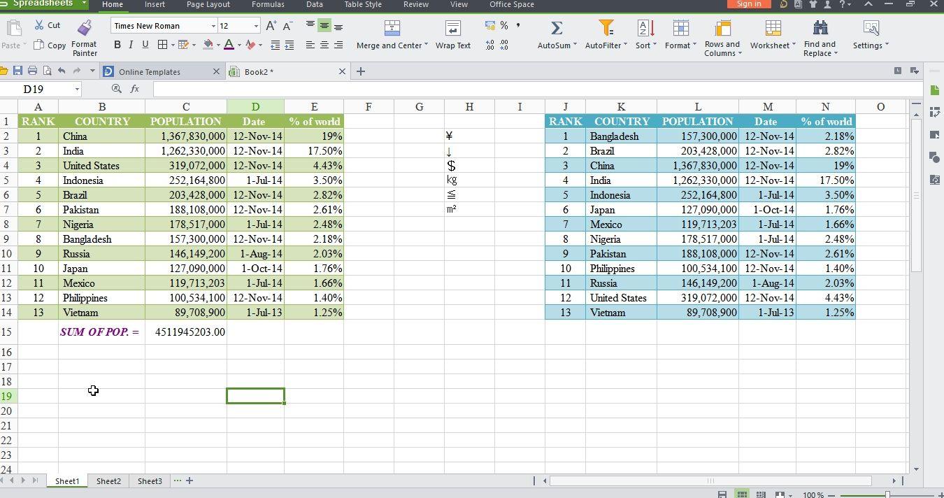 Wps Spreadsheet Online Templates Spreadsheet Software
