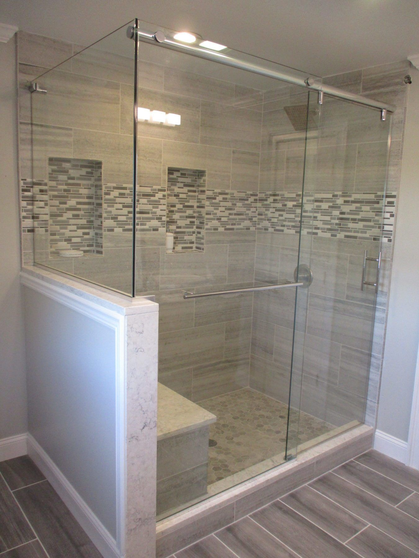 Barn Style Slider With Half Wall This Is Our Deus Everglide Barn Style Slider T Glass Shower Doors Frameless Shower Sliding Glass Door Frameless Shower Doors