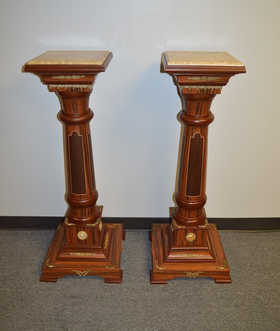 Inlaid Exotic Wood Marble Top Pedestal Plant Stand WBronze - Column pedestal plant stand
