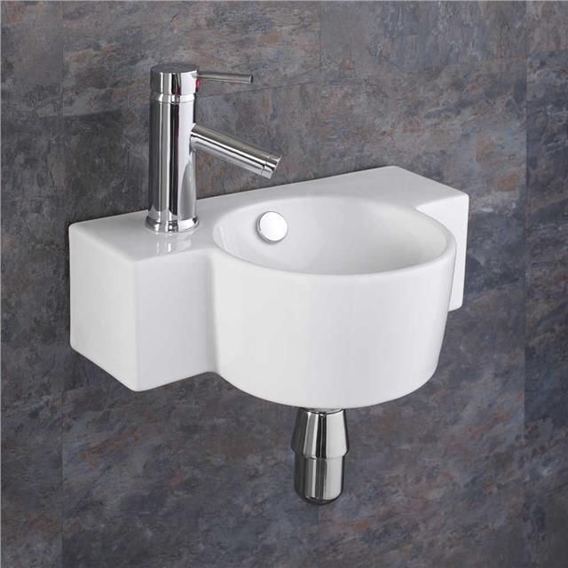 Ceramic 40cm x 28cm Small Sink Space Saving Basin Wall Mounted Sink
