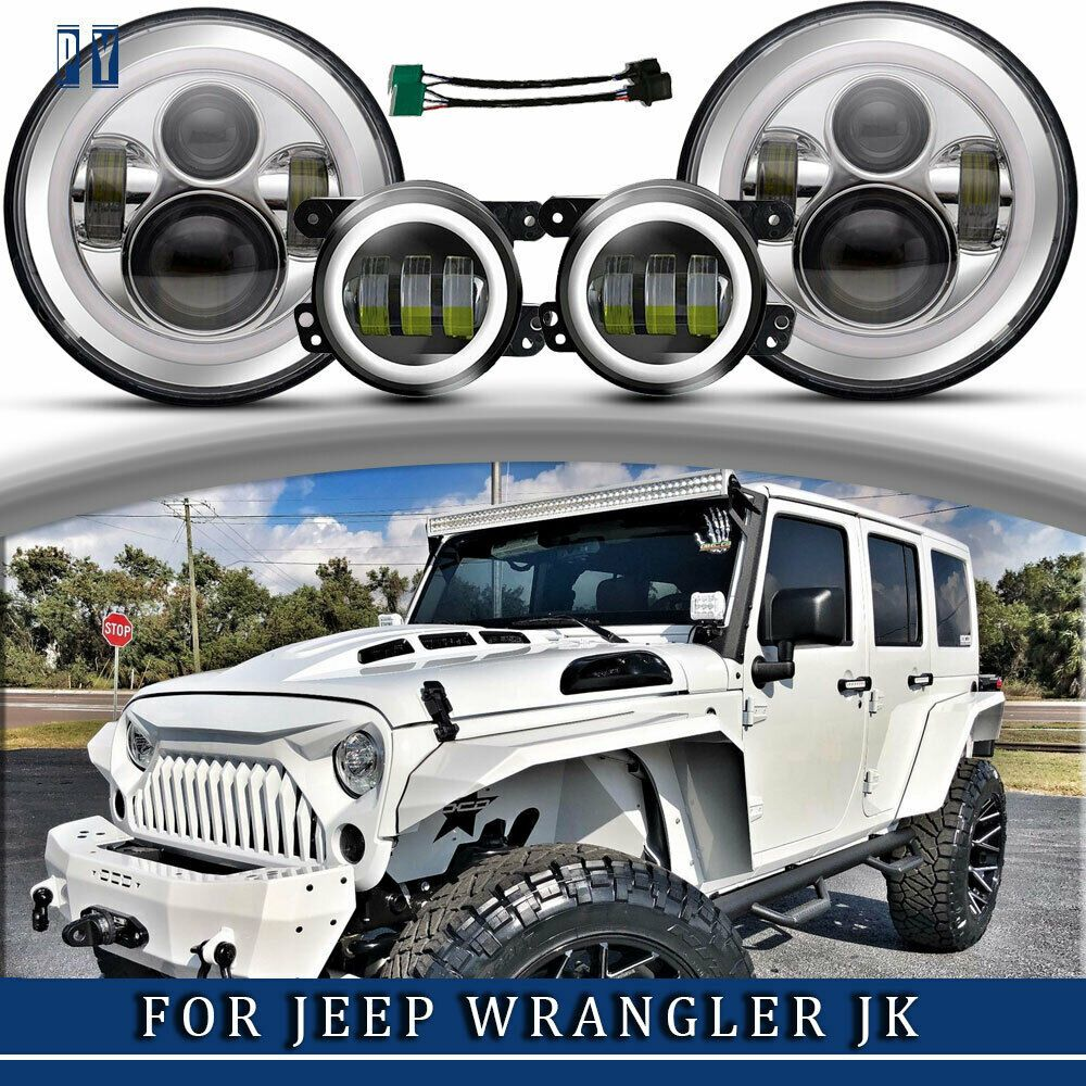 Ad Ebay 7 Round White Halo Led Projector Headlights And Fog
