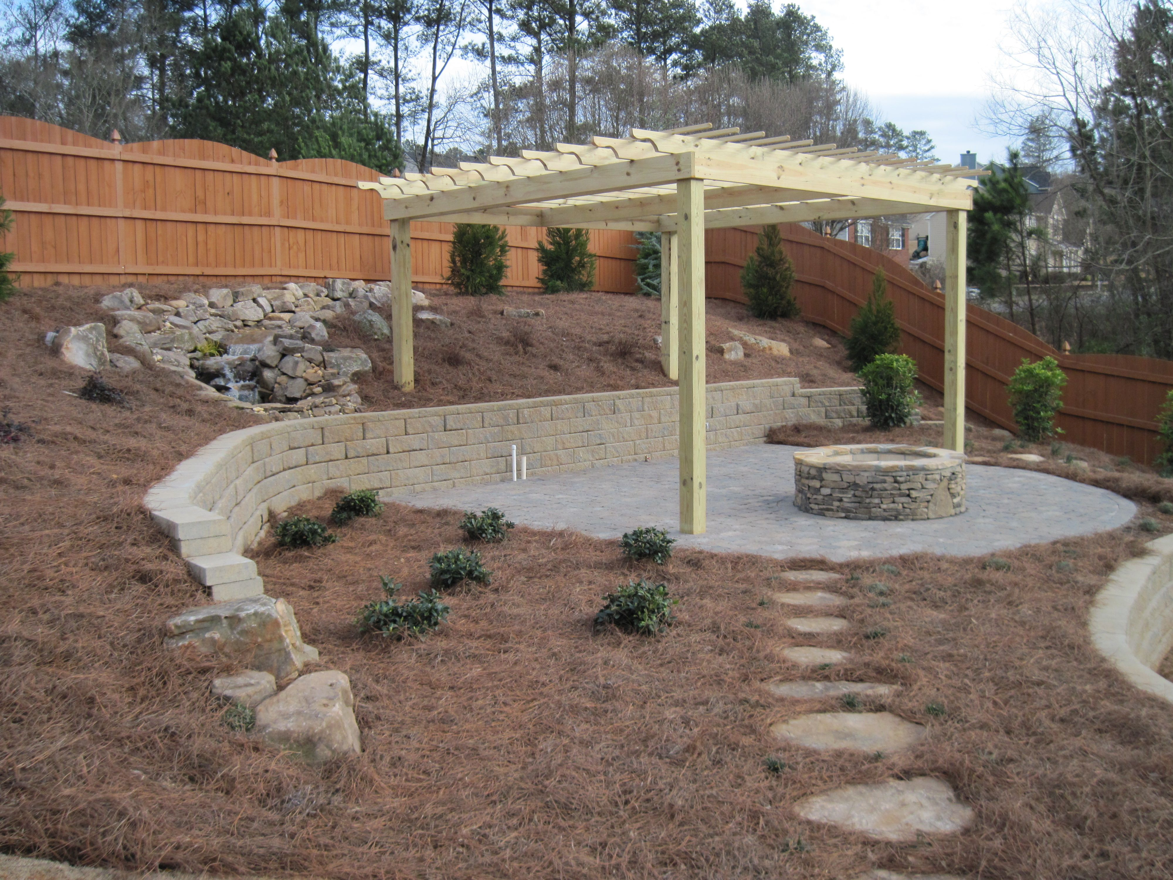 Anchor diamond retaining wall block wooden pergola paver for Patio and retaining wall ideas