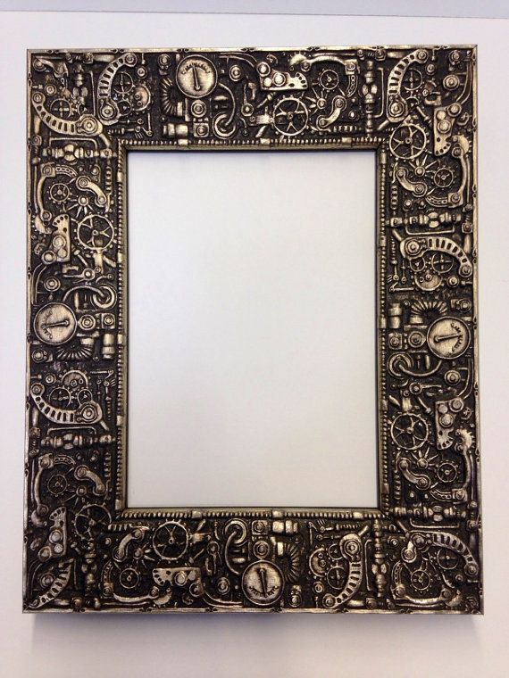 Steampunk Picture Frame Silver 3x5 4x6 5x7 8x10 11x14 Etsy Steampunk Crafts Unique Picture Frames Steampunk Art
