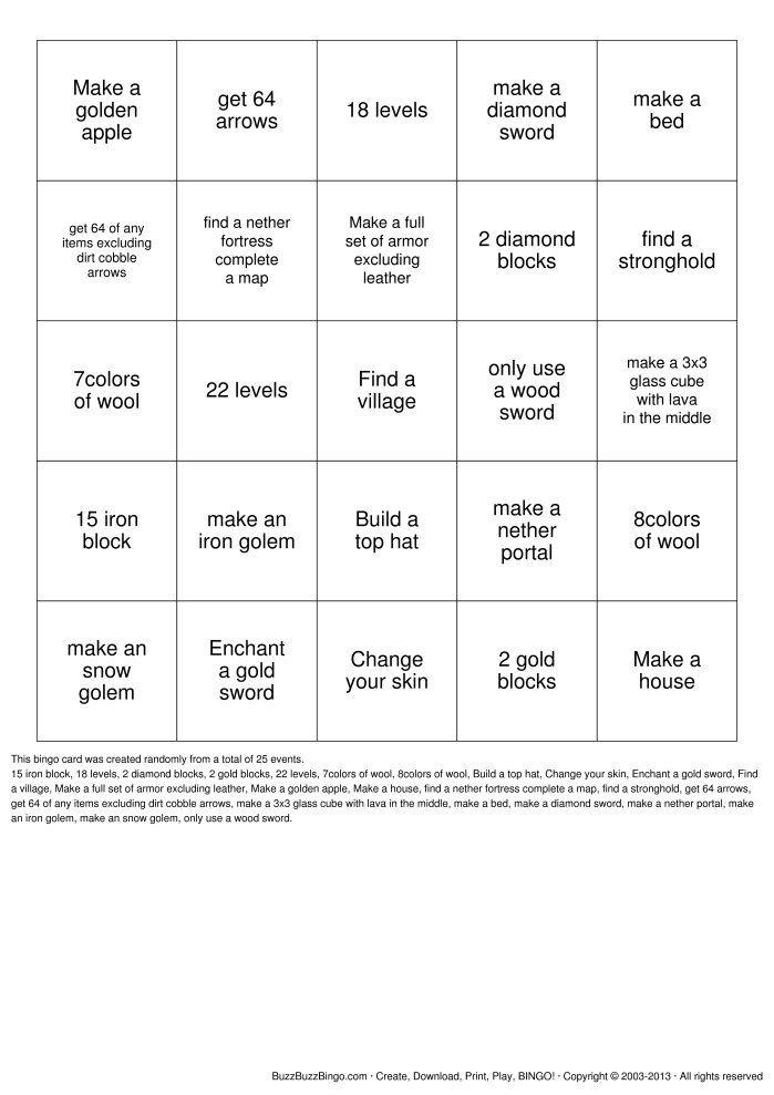 Minecraft Bingo Cards To Download Print And Customize Human Bingo Family Reunion Games Family Reunion Activities