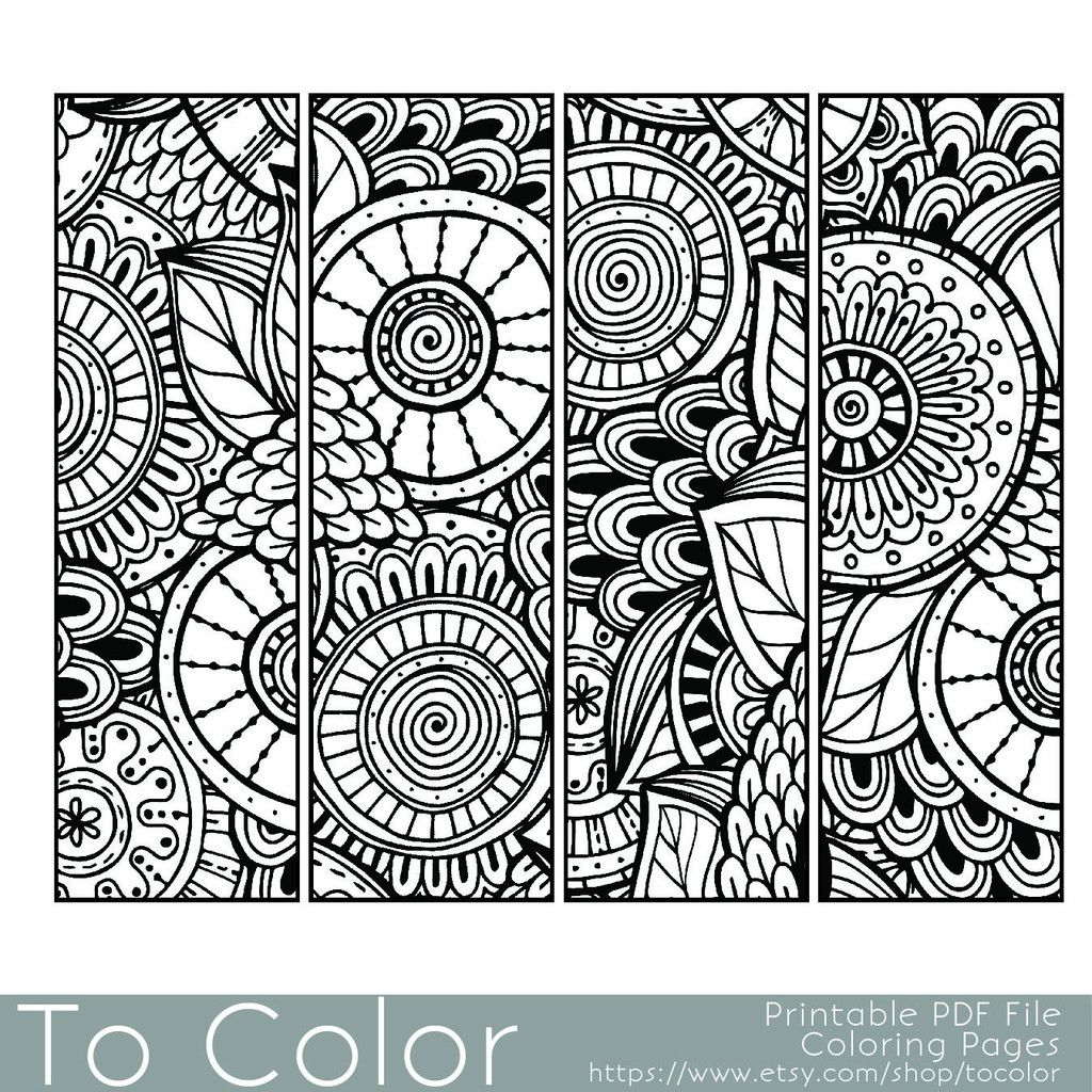 Bookmarks Coloring Page for Grown Ups - Instant Download | Let\'s ...