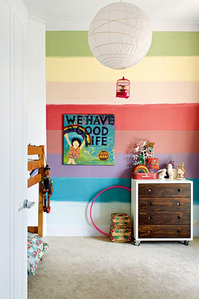 Kids Room, Colorful Rainbow Wall Fresh Kids Room Interior Design