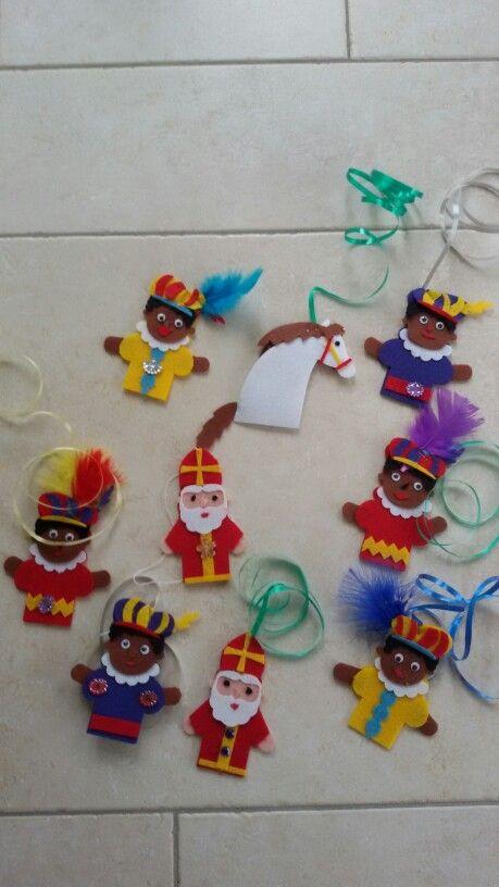 Vilten Poppetjes Vilten Vingerpoppetjes Sinterklaas Vilt Knutselen