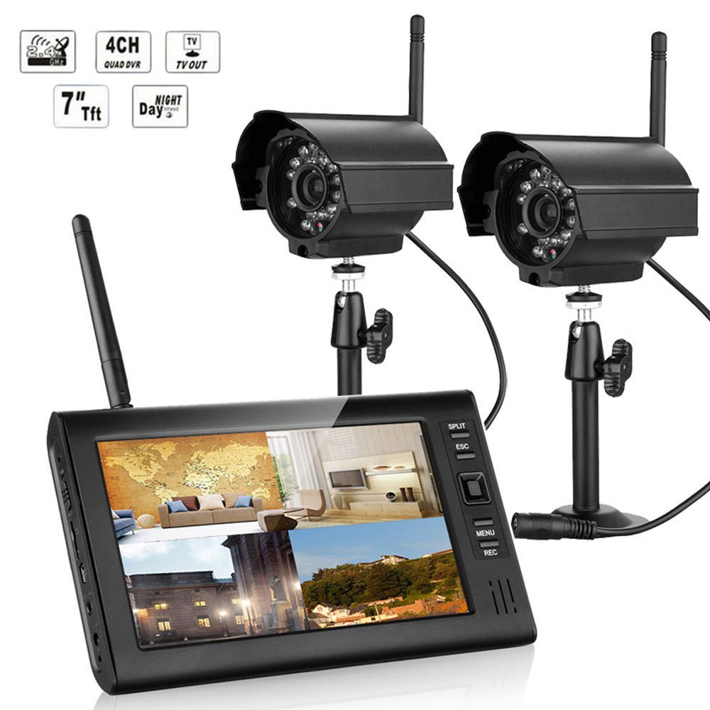 2.4GHz 7 TFT LCD 4CH DVR Wireless In/Outdoor Home Security System ...