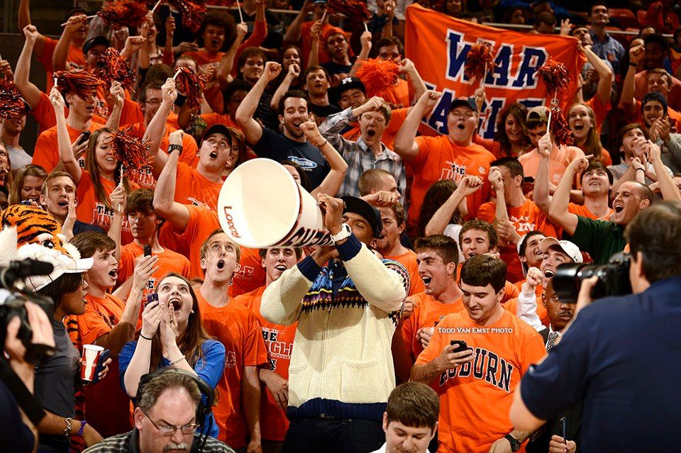 Cam Newton cheering on the Auburn Men's basketball team from the student section to their win against Alabama Feb. 7, 2013