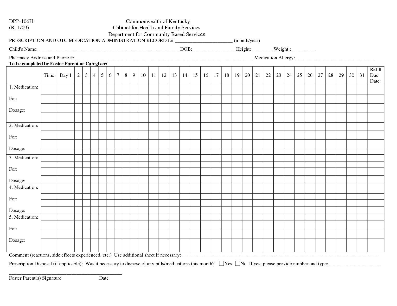 38 Printable Medication Charts Medication Chart Medication Chart Printable Medication Administration