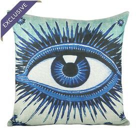 Linen-blend throw pillow with a vibrant eye-motif.   Product: PillowConstruction Material: Linen blendColor: BlueFeatures:  Handmade by TheWatsonShopEnvelope enclosureInsert includedMade in the USA Dimensions: 16 x 16Cleaning and Care: Hand wash with mild detergent. Lay flat to dry. Cool iron.