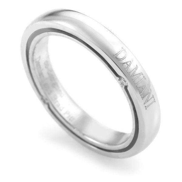 Pre-owned Damiani D. Side Brad Pitt 18K White Gold Diamond Band Ring ($1,089) ❤ liked on Polyvore featuring jewelry, rings, 18k diamond ring, white gold band ring, preowned wedding rings, pre owned rings and diamond wedding rings