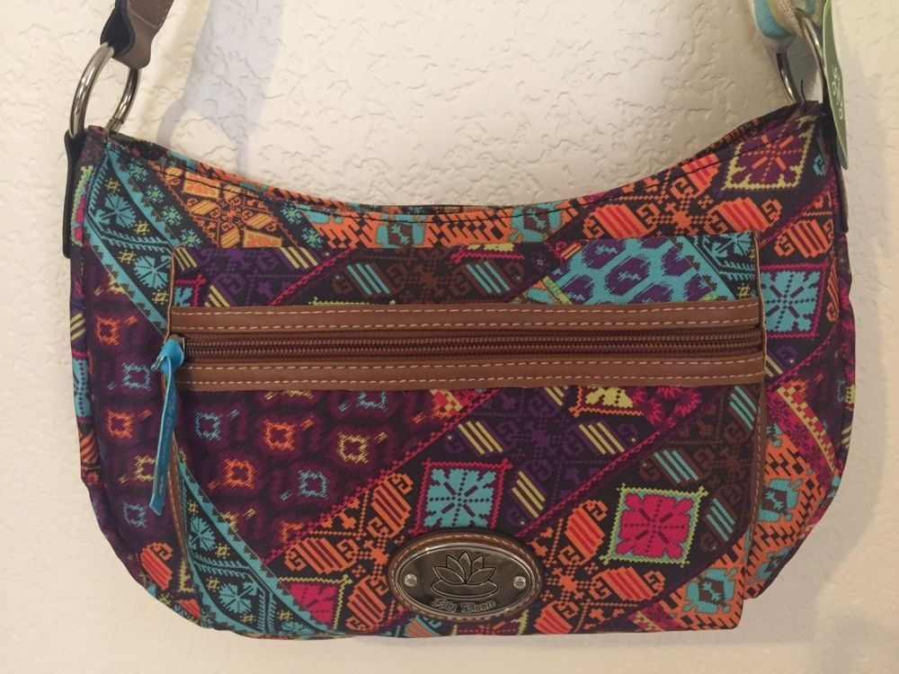 LILY BLOOM Patched Shapes Mid Hobo Women Handbag Purse Multi/color  #LilyBloom #Hobo