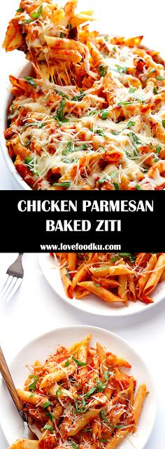 CHICKEN PARMESAN BAKED ZITI - #recipes #chickenparmesan