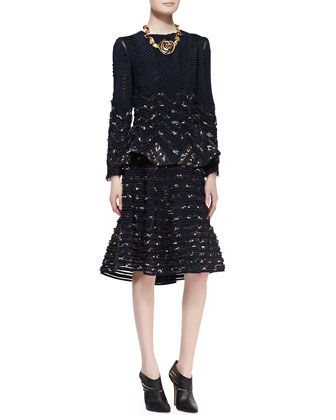 Long-Sleeve Ribbon Jacket & Flared Midi Skirt by Oscar de la Renta at Neiman Marcus.