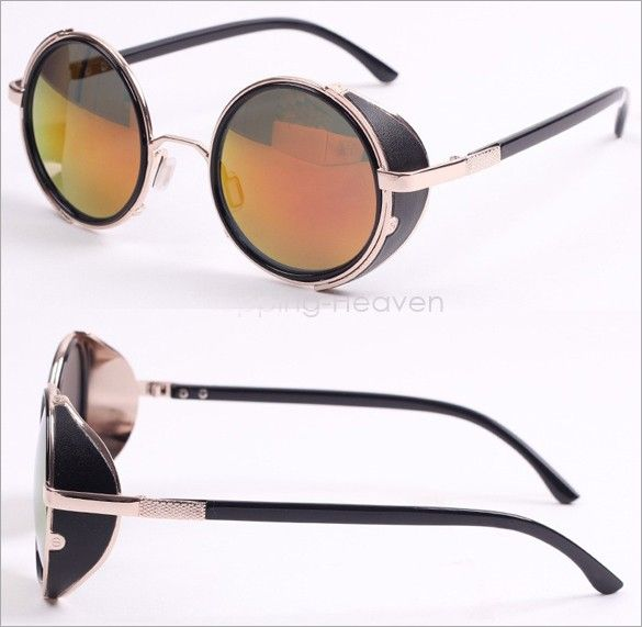 Steampunk Sunglasses Round Glasses Goggles Men Women Unisex Vintage Retro Style Hippy Sunglasses sboIO