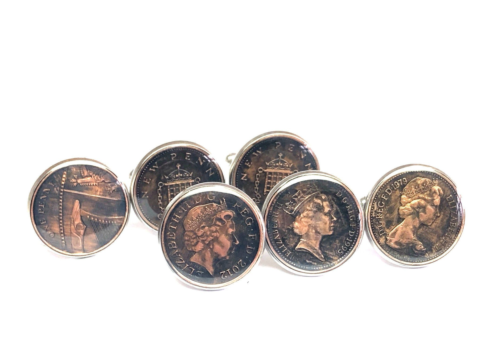 UK British coin cufflinks One New Penny 20mm 1998 1999 2000
