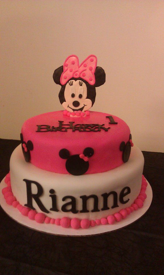 Astonishing Minnie Mouse Cake For A Little Girls 1St Birthday With Images Funny Birthday Cards Online Ioscodamsfinfo