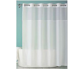 Hookless Plainweave White Sheer Window Shower Curtain Hookless