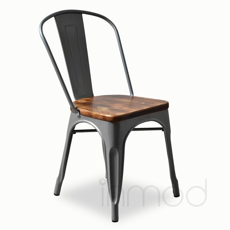 Bastille Cafe Stacking Chair (Weathered Wood Seat) $119 Each