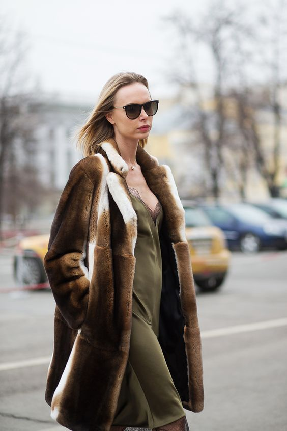 slip dress 2017 and gorgeous fur coat