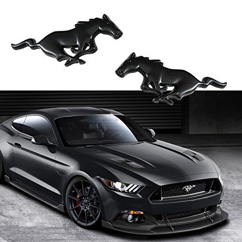 Xotic Tech 2x Ford Mustang Running Horse Matte Black Pony Emblems