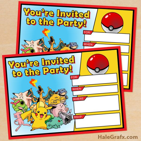 Astounding image pertaining to pokemon party invitations free printable