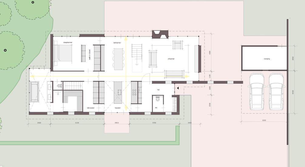 Moderne open plattegrond zichtlijnen floorplan pinterest bungalow house and exterior - Plan indoor moderne woning ...