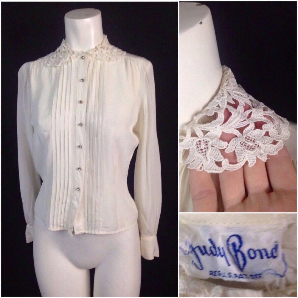 UK 8-14 vintage rococo style blouse Vintage 1940s 1950s style lace embroidered ruffle collar bishop sleeve shirt edwardian