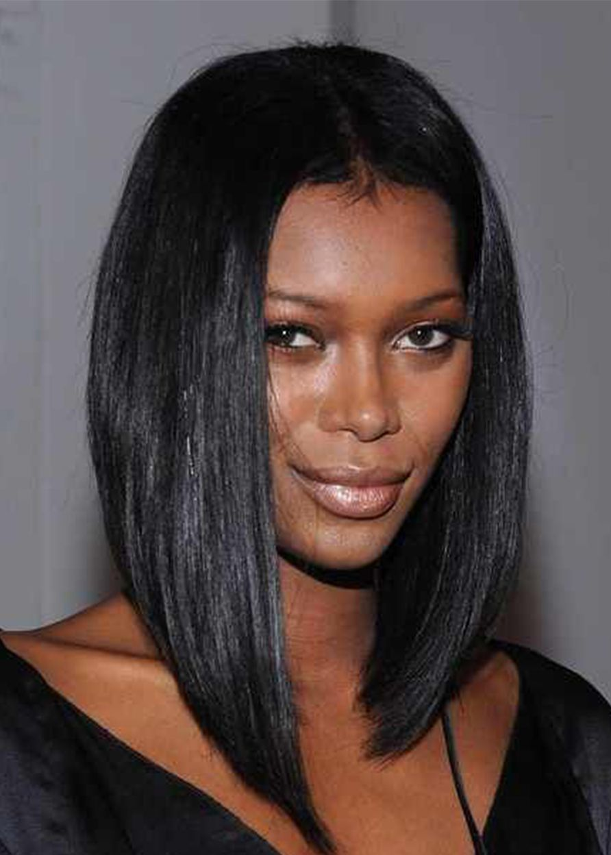 African American Women S Straight Middle Part Human Hair Lace Front Cap Wigs 16inch Frontal Hairstyles Hair Styles Weave Hairstyles
