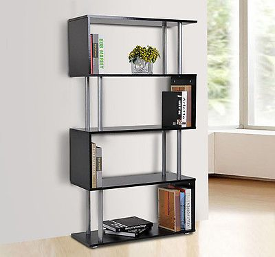 Wooden Wood Storage Display Unit Bookshelf Bookcase Room Dividers S Shaped Black