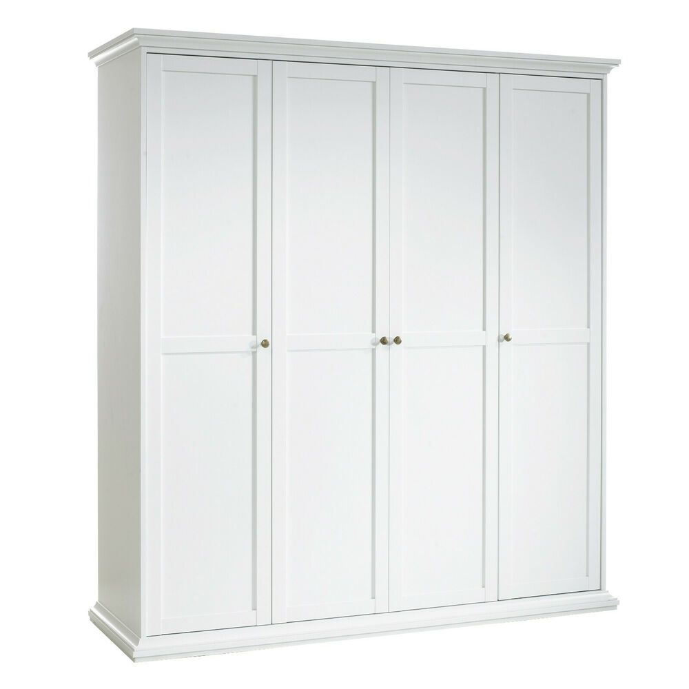 Large Wardrobe 4 Doors Clothes Storage Cabinet Quadruple Robe